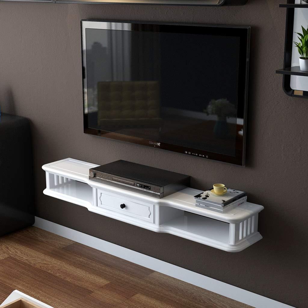 壁掛け棚テレビフローティング棚テレビコンソール収納ボックスセットトップボックスルーターラック多機能ディスプレイ棚付き引き出し (色 : 白, サイズ さいず : 80センチメートル) B07R58BQ1R 白 80センチメートル