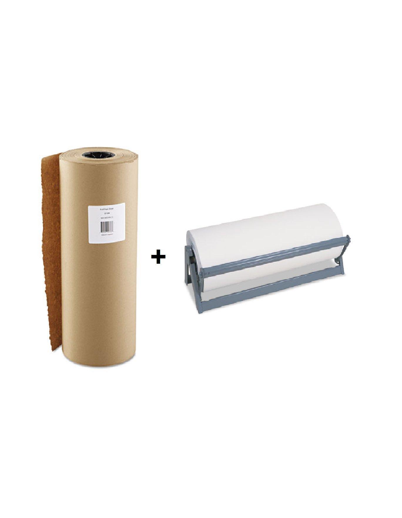 Boardwalk K1840900 Kraft Paper, 18'' x 900ft, Brown with Bulman A50018 All Steel, Rubber Feet, 18'' Paper Cutter