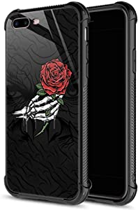 CARLOCA iPhone 8 Plus Case,Skull Hand Holding Rose iPhone 7 Plus Cases for Girls Boys,Graphic Design Shockproof Anti-Scratch Hard Back Case for Apple iPhone 7/8 Plus