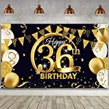 36th Birthday Party Decoration, Extra Large Fabric Black Gold Sign Poster for 36th Anniversary Photo Booth Backdrop Background Banner, 36th Birthday Party Supplies, 72.8 x 43.3 Inch