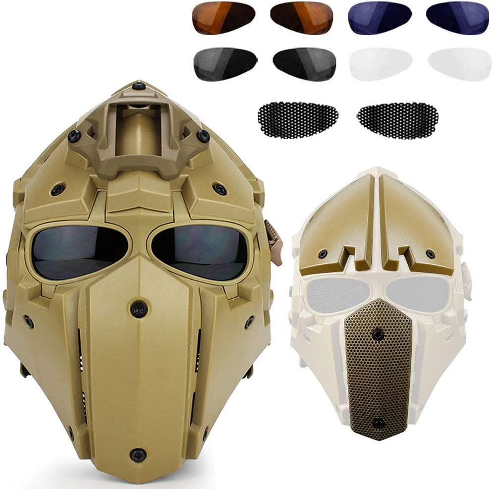 Tactical Outdoor Riding Helmmaske Integrierter Baotou-Helm//Eingebauter Ventilator//Modulares Design //,Black WWtoukui Motorradhelm