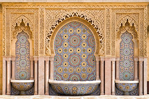 Wallmonkeys Typical Moroccan Tiled Fountain Wall Mural Peel and Stick Graphic (30 in W x 20 in H) WM216454
