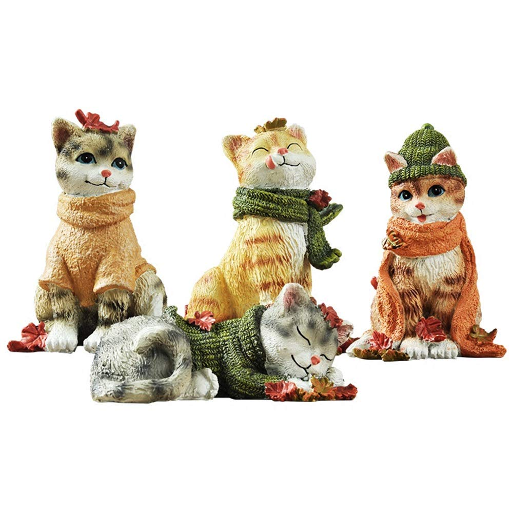 4 Piece Set Creative Cute Cat Ornaments Home Decorations Living Room Wine Cabinet Porch Room Bedroom Small Display
