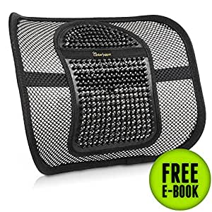 Go Lumbar Support Extra Comfortable Adjustable Breathable Black Mesh Lumbar Back Cushion Support Fit All Types Office Chair Car Seat, Perfect Solution for Fatigue Back Pain Poor Posture Soreness
