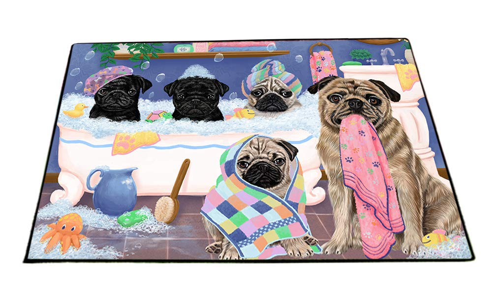 Rub A Dub Dogs In A Tub Pugs Dog Floormat FLMS53616 (18x24) by Doggie of the Day