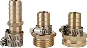 """CozyCabin 5/8"""" Brass Garden Hose Quick Connect Coupler, Water Hose Adapter Fitting Connector Repair Kit, 5/8"""" NPT Female Pipe x 5/8"""" NPT Male Pipe x Barb(with 3 Stainless Clamps)"""