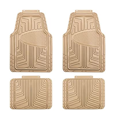 Basics 4-Piece All-Season Odorless Rubber Floor Mat for Cars, SUVs and Trucks, Beige: Automotive