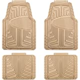 AmazonBasics 4-Piece All-Season Odorless Rubber Floor Mat for Cars, SUVs and Trucks, Beige