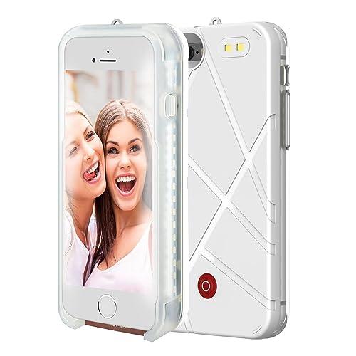 Selfie Light Luminous iPhone Case, LED Illuminated Power Bank Battery Charger,Flash Light Cell Phone Case for Apple iPhone 7/iPhone 8,4.7 Inch by ONTA (White)