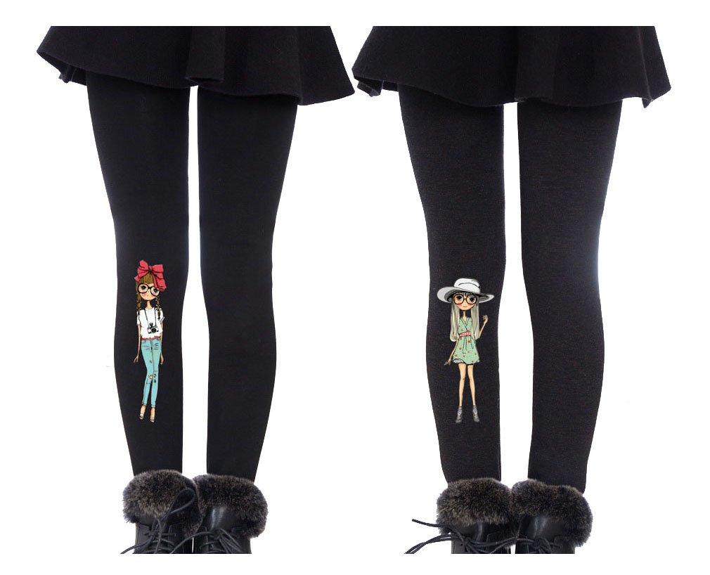 YallFairy 2 Pack Girls Winter Warm Fleece Lined Elastic Velvet Stretchy Thick Leggings Pants (M( Height 120-130CM), Black+Grey)