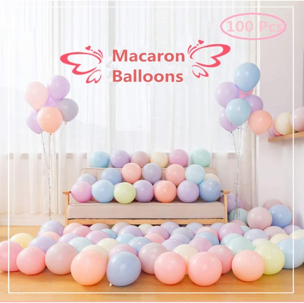 Macaron Pastel Balloons, 100pcs 10 Inches Latex Candy Rainbow balloons for Kids Birthday Wedding Baby Colored Graduation Party Baby Decor Supplies Arch Balloon Tower Balloon Garland