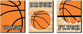 product image for Big Dot of Happiness Nothin' but Net - Basketball - Kids Bathroom Rules Wall Art - 7.5 x 10 inches - Set of 3 Signs - Wash, Brush, Flush