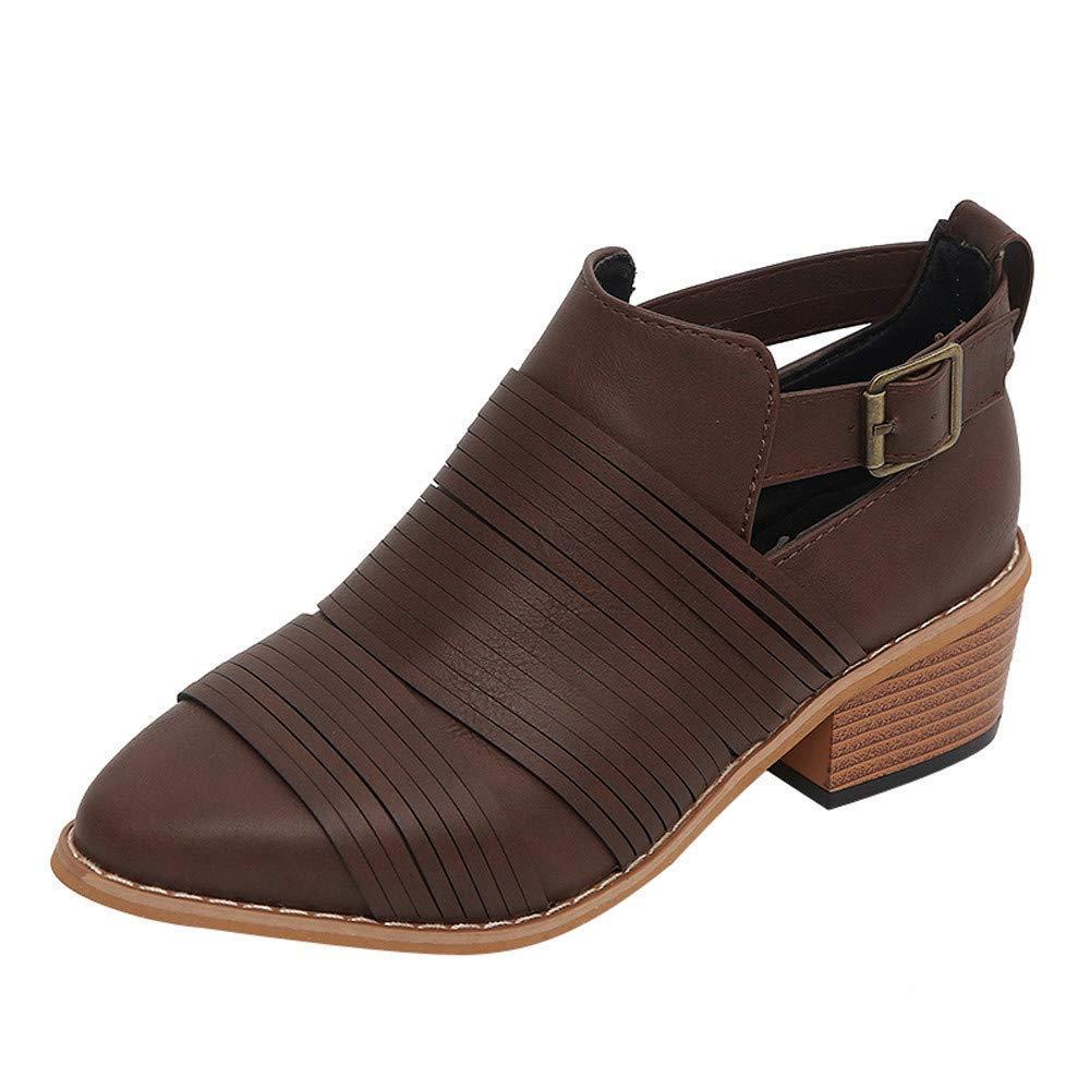 ZHRUI Martin Stiefel Damen Schuhe Mode Spitzschuh Schuhe Reine Farbe Stiefelies Schnalle Square Heel Single Schuhe Kurze Stiefel Winterstiefel Elegant Ankle Stiefel (Farbe   Kaffee Größe   36 EU)