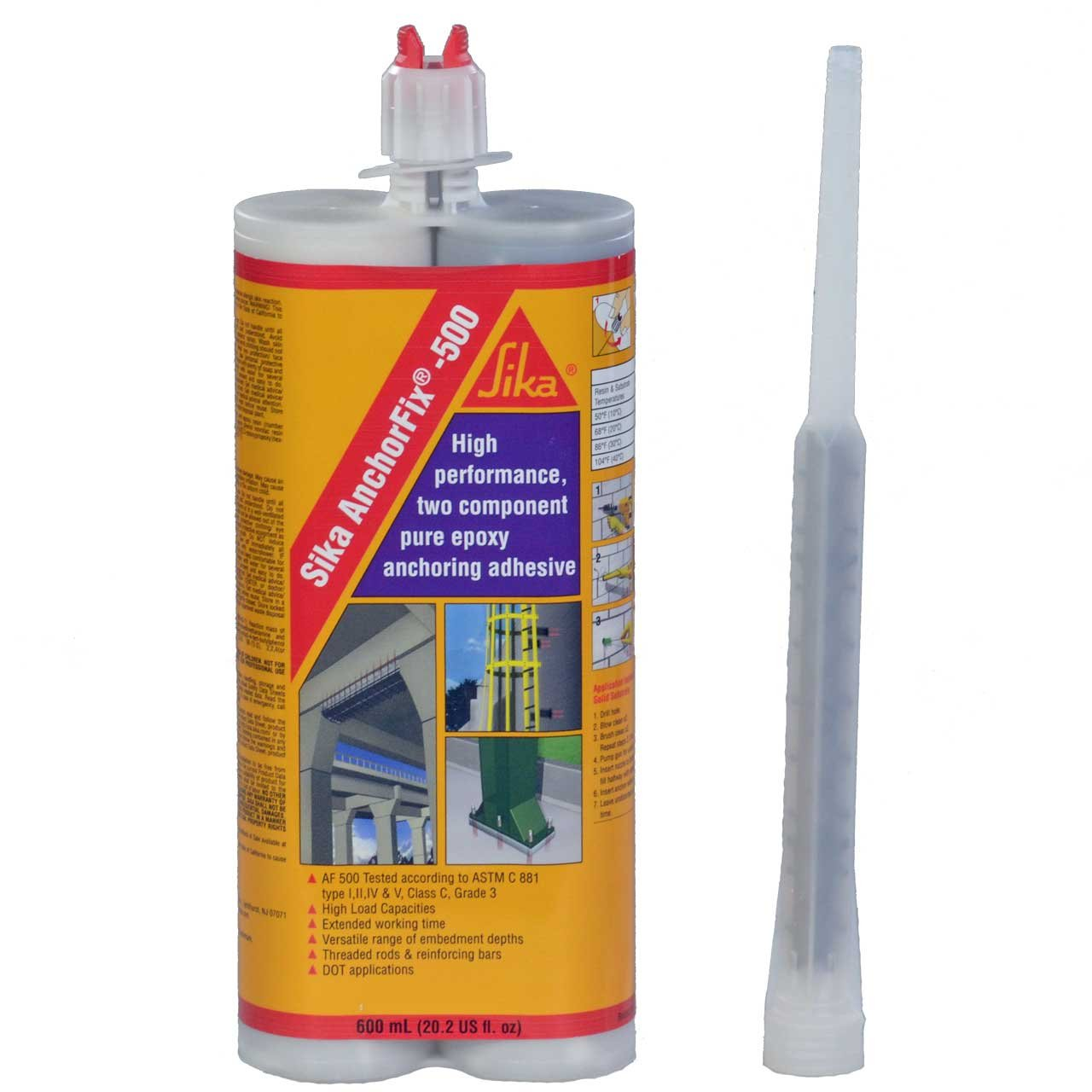 Epoxy Adhesive Applicator, 22 oz. Dual Cartridge Capacity, 25:1 Thrust, AWF Pro with 1 Cartridge, Sika AnchorFix 500: 20 oz Two Component Epoxy, High Performance, Concrete Anchoring System by Sika (Image #3)