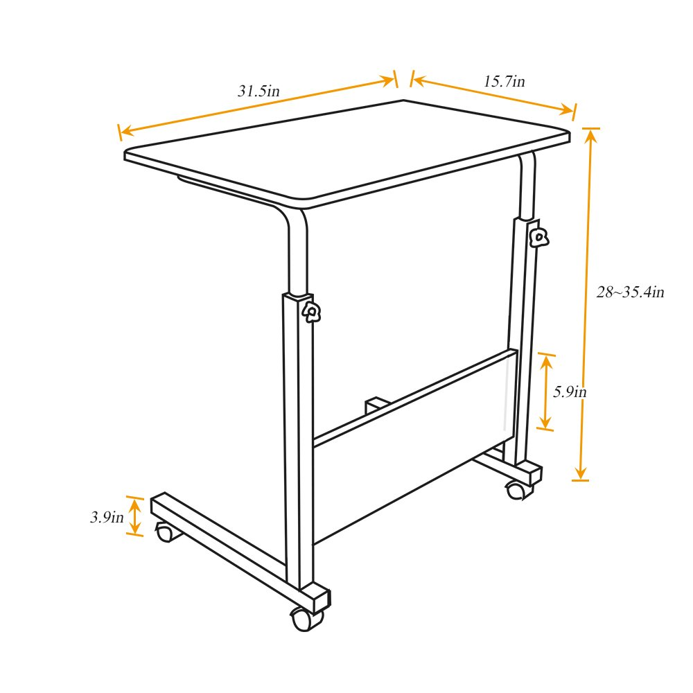 DlandHome 31.4'' Large Size Mobile Side Table, Adjustable Movable w/wheels, Portable Laptop Stand for Bed Sofa, 05#1-80O Oak, 1 Pack by DlandHome (Image #3)