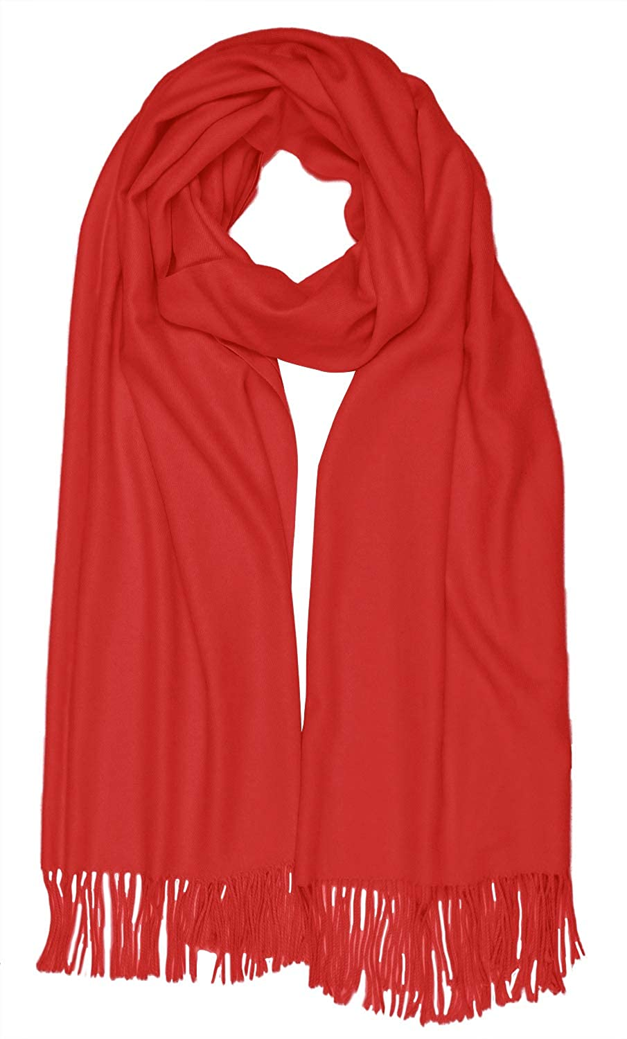 Red Women Solid Soft Cashmere Feel Shawl Wrap Scarf