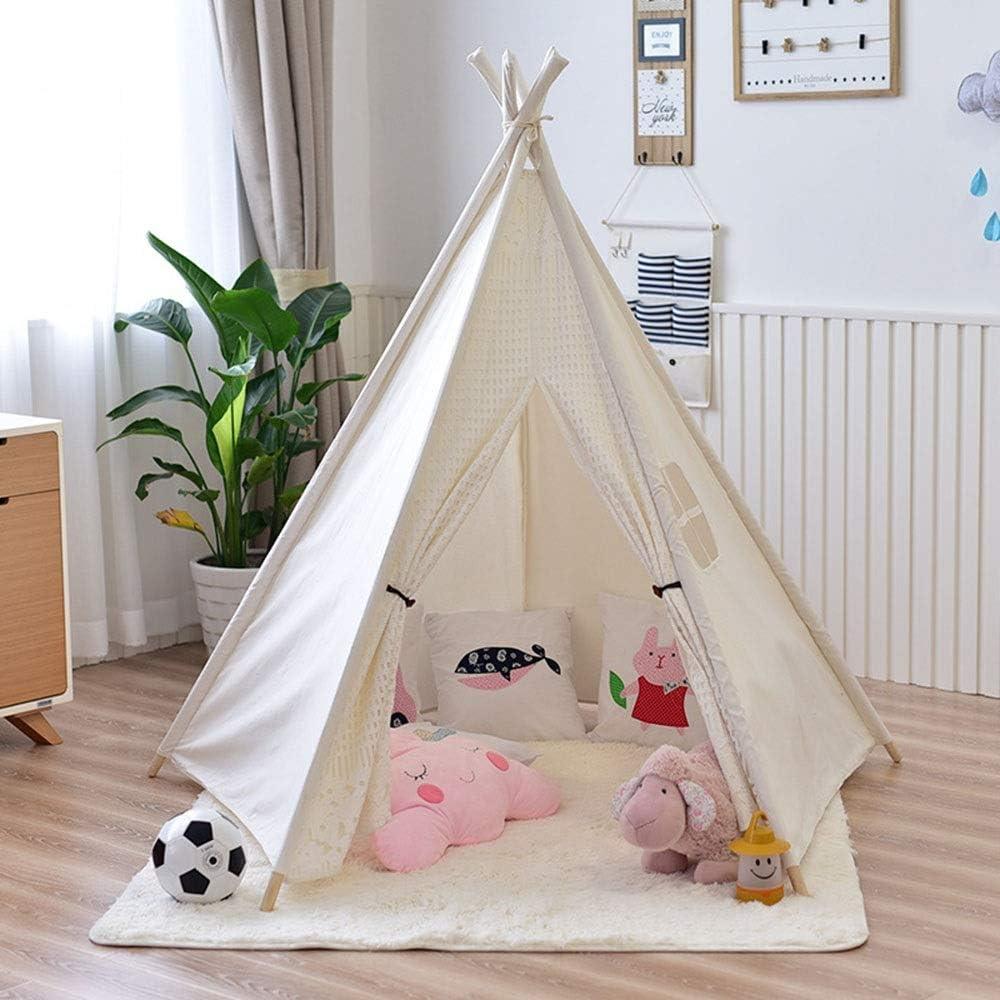 おもちゃのテント 子供折りたたみティーピープレイテント耐久性のある赤ちゃんの幼児の女の子と男の子の子供部屋のインテリアマルチカラーオプション 子供用テント (Color : White, Size : 110x110x155cm)