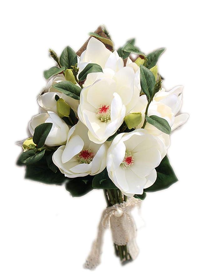 Amazon.com: Ramo de flores para novia de ABIGAIL LEAD, rosa ...