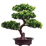 Artificial Bonsai Pine Tree, 11Inch Faux Potted Plant Desk Display Fake Tree Pot Ornaments, Japanese Cedar Bonsai Plant for H