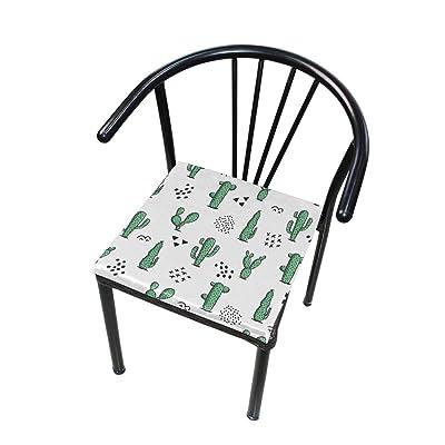 Bardic FICOO Home Patio Chair Cushion Cacti Cactus Pattern Square Cushion Non-Slip Memory Foam Outdoor Seat Cushion, 16x16 Inch: Home & Kitchen