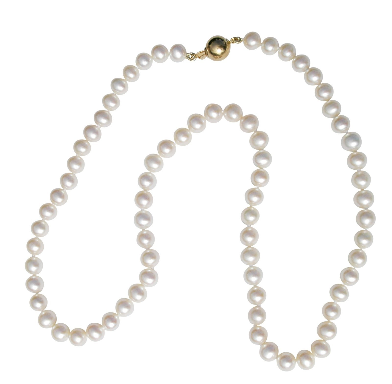 Classic White 6-7mm Cultured Pearl Necklace With A Pretty Round 14Carat Yellow Gold Clasp