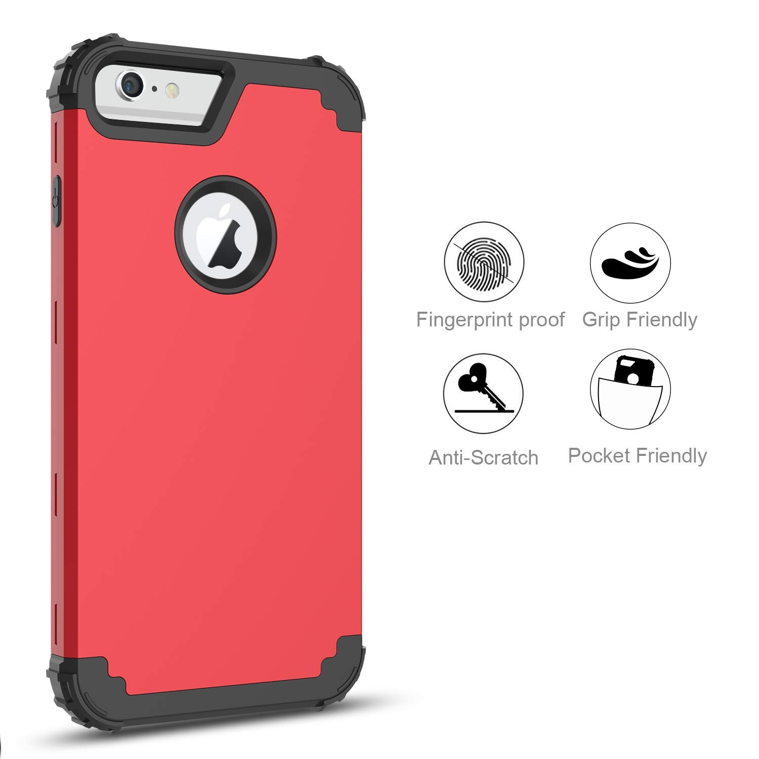 iPhone 6S Plus Case, iPhone 6 Plus Case, BENTOBEN 3 in 1 Hybrid Heavy Duty Rugged Hard PC Soft Silicone Bumper Shockproof Anti Slip Protective Case ...