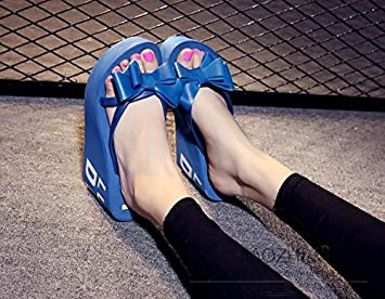 XIAMUO Sommer high-heeled Flip Flops mit dicken Plattform Keile wasserdicht Hausschuhe Sandalen 36 Royal Blau...