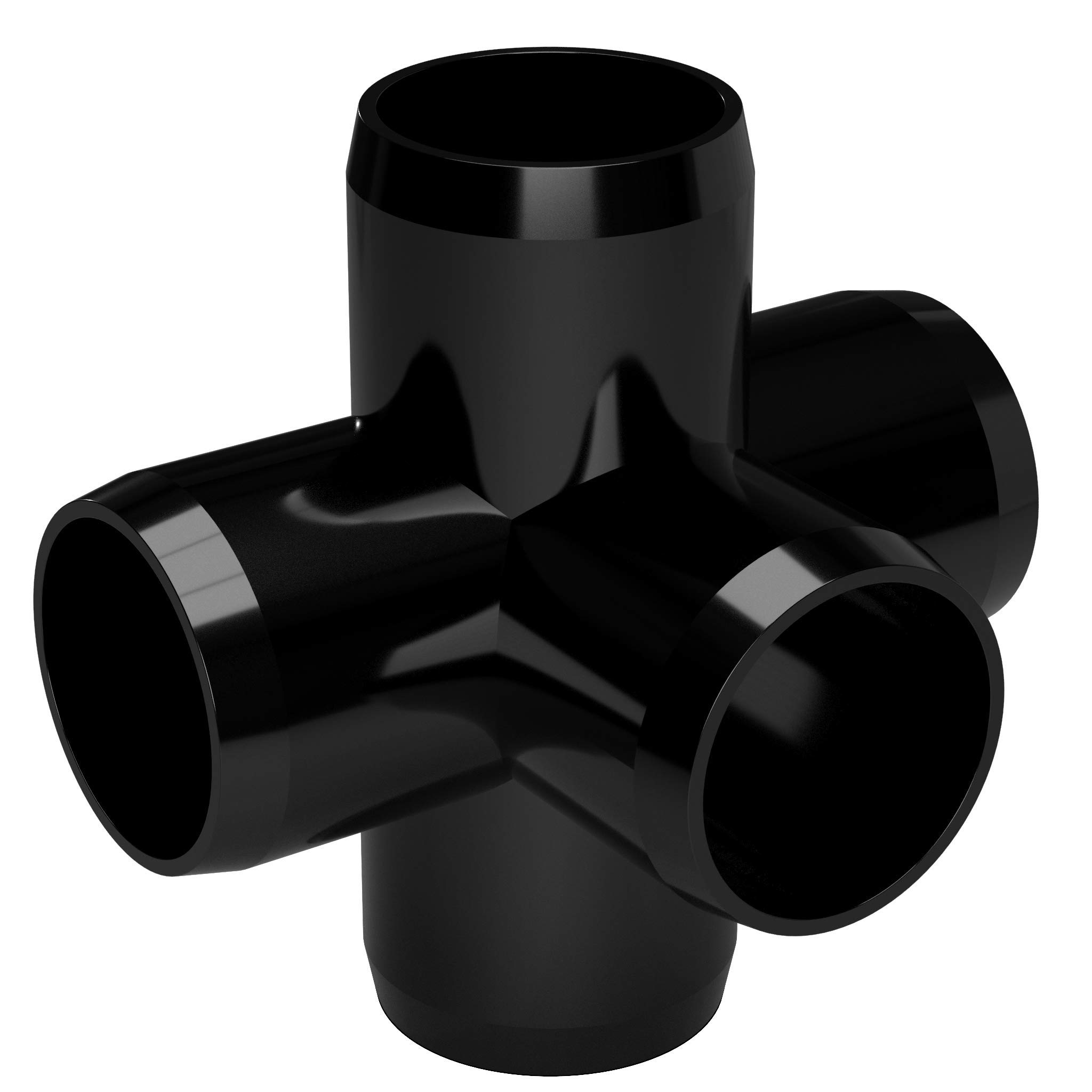 FORMUFIT F0015WC-BK-4 5-Way Cross PVC Fitting, Furniture Grade, 1'' Size, Black (Pack of 4) by FORMUFIT (Image #2)