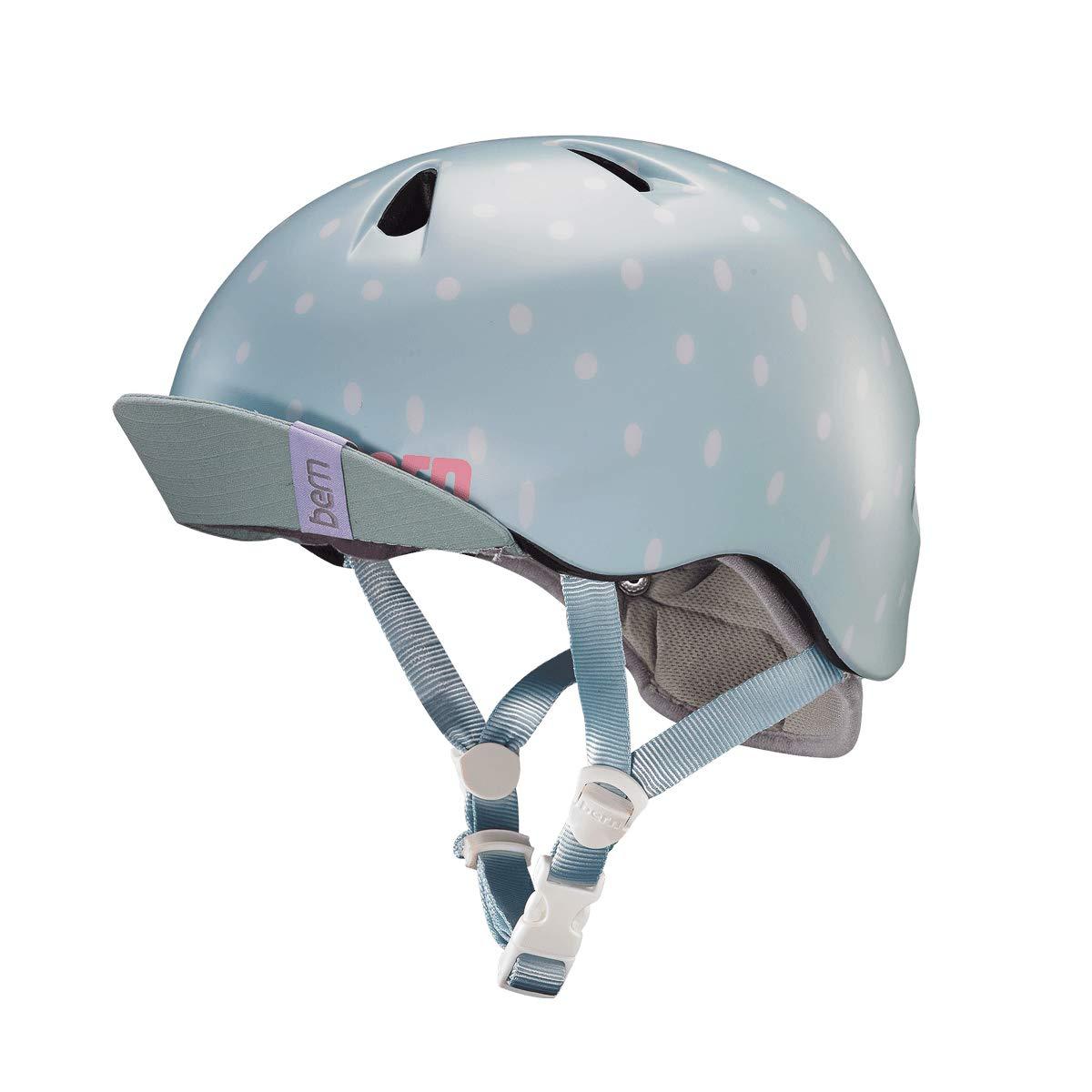 Bern Unlimited Jr. Nina Summer Helmet with Visor (Satin Seaglass Polka Dot, XS/S)