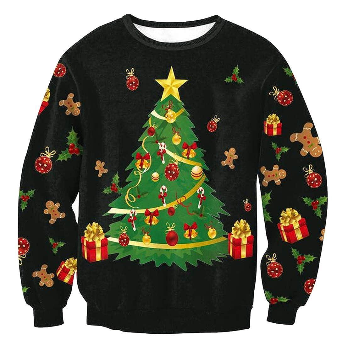 Jotebriyo Womens Loose Fit Christmas Printed Long Sleeve Casual Round Neck Pullover Sweatshirt Top