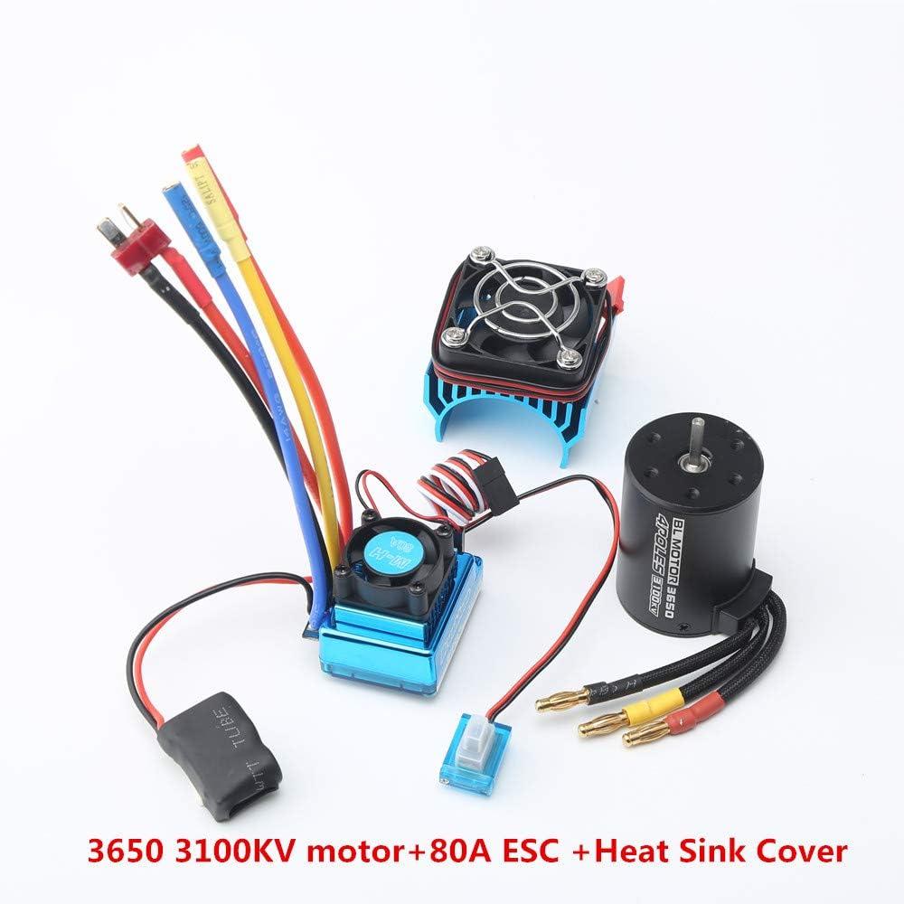 Nrpfell 3650 3100Kv Brushless Motor /& Esc mit K/ühler Combo f/ür 1:10 Rc Auto Rc Boot Teil-80A Esc