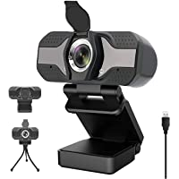 1080P Webcam for PC Laptop Desktop, HD Computer Webcam with Microphone, Auto Light Correction, Support Beauty, Streaming Webcam for Video Call, Conference, Online Classes, USB Web Camera Built-in Mic