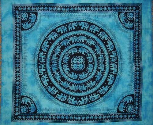 India Arts Mandala Elephant Tapestry Cotton Bedspread 92 x 82 Full Turquoise