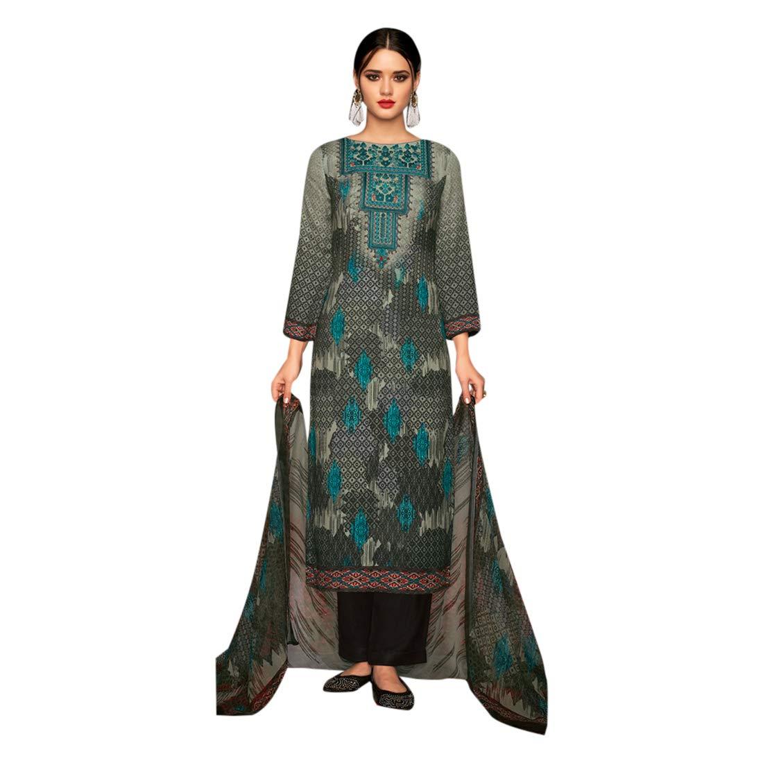 Indian Designer Printed Salwar Kameez suit Ethnic Pant Style Party Formal Wear Muslim 7187
