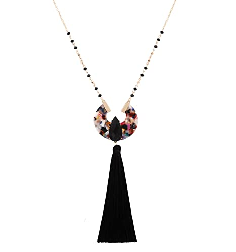 Boderier Long Necklaces for Women Crystal Beaded Chain Teardrop Stone Round  Acrylic Drop Tassel Pendant Necklace 642a51027832