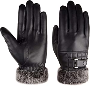 QIN.J.FANG-QETY Men's Leather Gloves, Winter Plus Velvet Edge Wrist Touch Screen Thickened Washed Leather Warm Driving Gloves