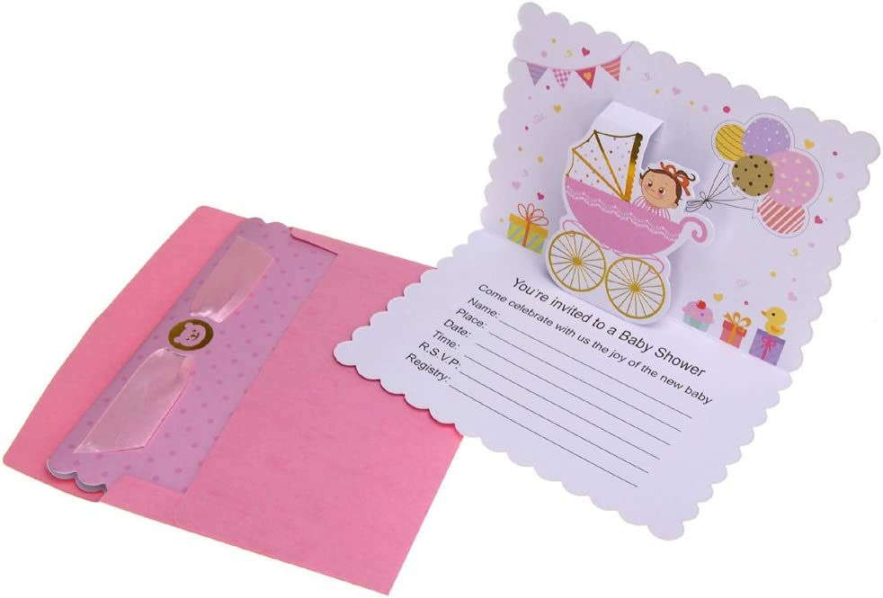 Homeford Baby Shower Girl Pop-Up Invitations, Pink, 6-3 4-Inch, 10-Count