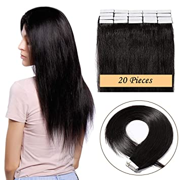 c5a7edcd33c6a 20 Pcs Tape Hair Extensions Human Hair 100% Remy Invisible Full Head Soft  Silky Straight Real Hair Pieces for Women (16inch