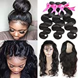 Beauty Princess 360 Lace Frontal with Bundles 8a Brazilian Body Wave Virgin Hair 3 Bundles with 360 Lace Band Frontal Closure with Bady Hair Natural Color. (14 16 18+12 Frontal) Review