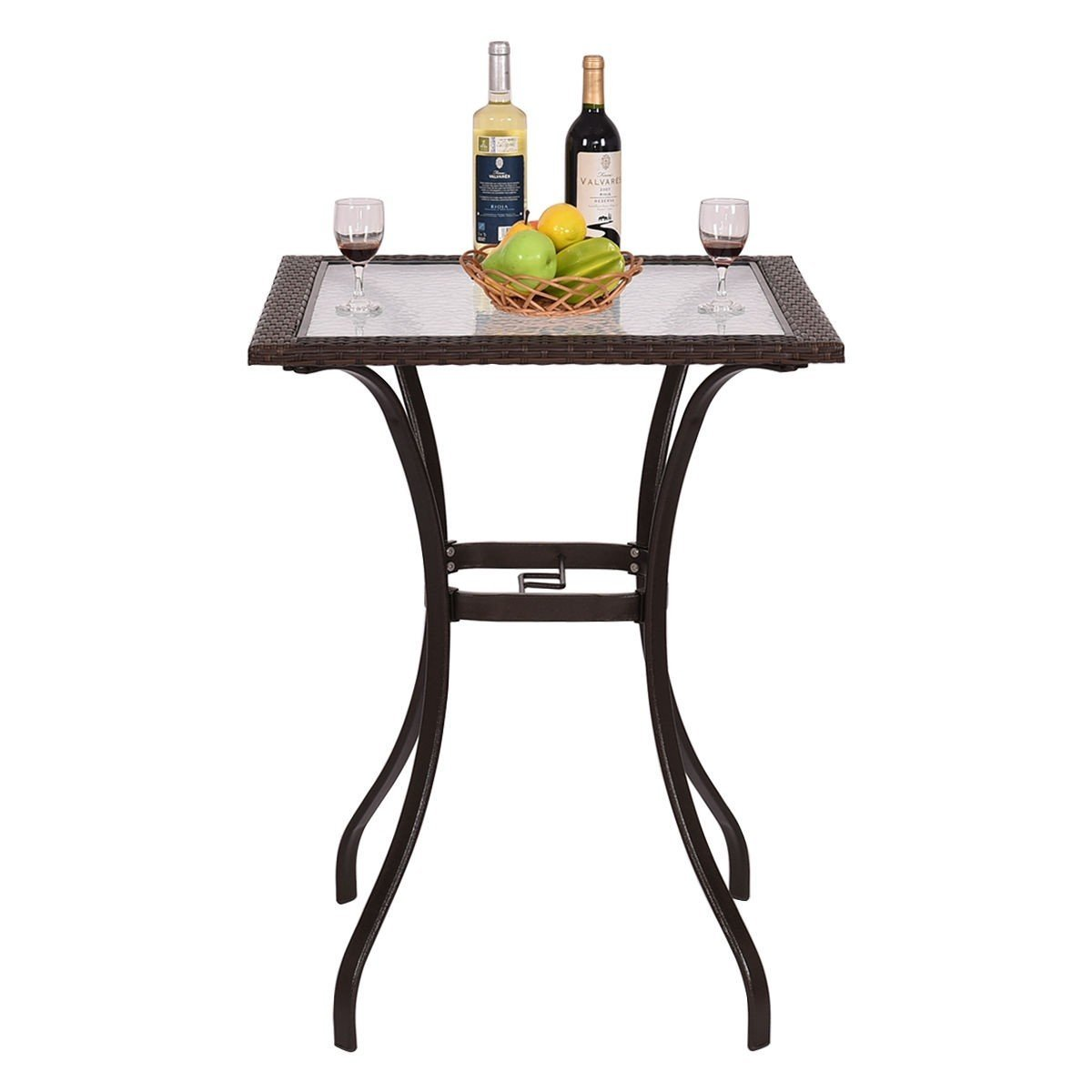 Custpromo Patio Rattan Bar Square Table Patio Bistro Table with Glass Top Steel Frame Garden Backyard Furniture