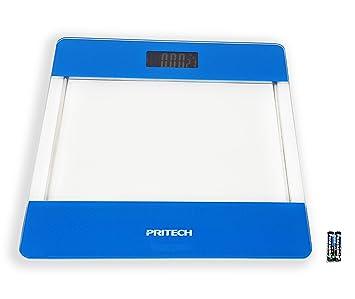 Pritech - Báscula de Baño Digital de Alta Precisión de Vidrio Transparente con Iluminación LCD, Indicador de Temperatura Y Apagado Automático (Azul)