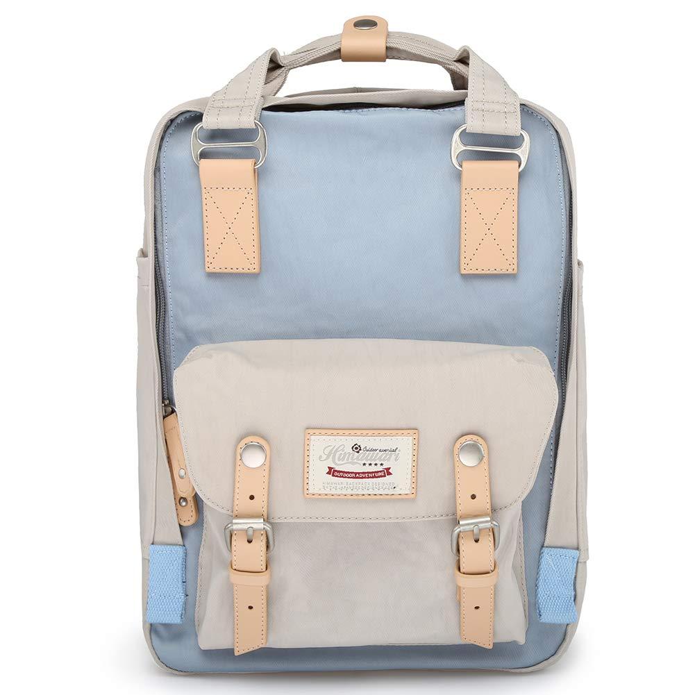 Himawari School Functional Travel Waterproof Backpack Bag for Men & Women   14.9''x11.1''x5.9''   Holds 13-in Laptop (Beige & blue) by himawari