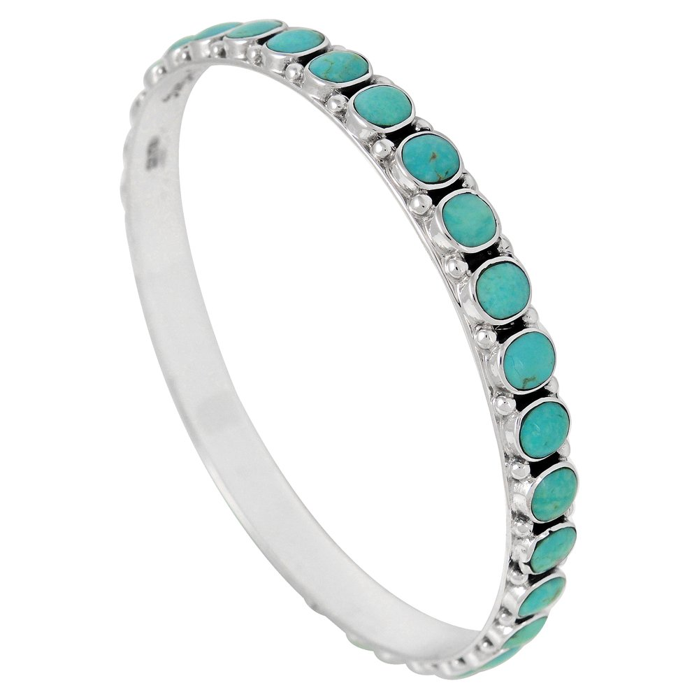 Stackable 925 Sterling Silver Bangle Bracelet with Genuine Turquoise (Turquoise)
