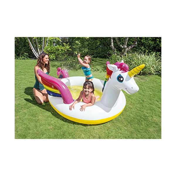 """Intex Mystic Unicorn Inflatable Spray Pool, 107"""" X 76"""" X 41"""", for Ages 2+ 4"""