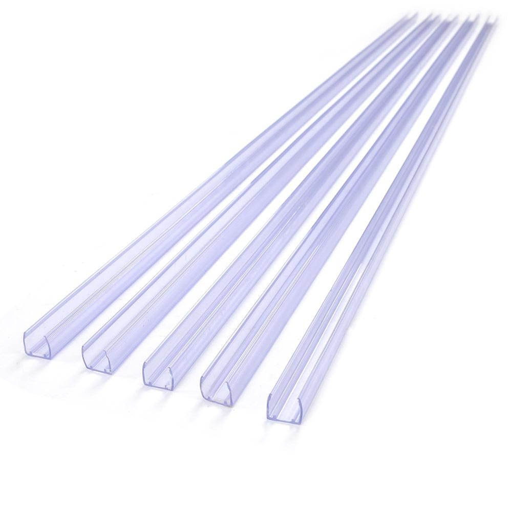 DELight 20Pcs 39 3/8'' x 1/2'' Clear PVC Channel Mounting Holder Acc for Flex LED Neon Rope Light 65' Total Length