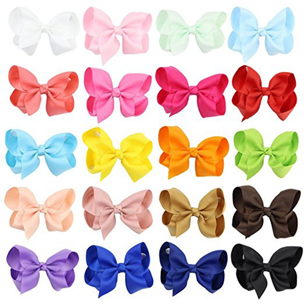 Hecentur 20PCS 3Inch Grosgrain Ribbon Boutique Hair Alligator Clips For Girls Toddlers Teens Babies Set of 20 Color