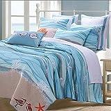 Nautical Blue 100-percent Cotton Bedding Quilt and Sham Set Twin Size