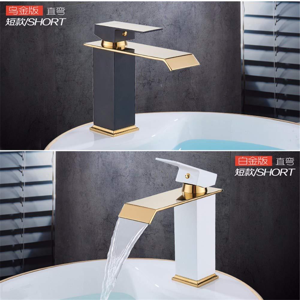 Chongxlgy-1 Rubinetto di rame caldo caldo caldo e freddo rubinetto singolo foro in stile europeo oro sopra contatore lavabo rubinetto lavabo rubinetto cascata, sezione B oro curvo naturale 82fcc4