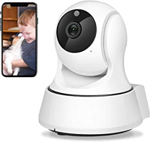 WiFi Camera, 1080p Home Security Camera FHD Pan/Tilt/Zoom Wi-Fi Indoor Smart Camera for Baby/Pet/Nanny with Motion Detection, Night Vision, 2-Way Audio, White