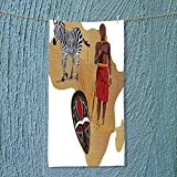 SOCOMIMI Sports Towel Collection Africa Map and Tribal Ethnic Cultural Symbols with a Native Local Man Fast Drying, Antibacterial